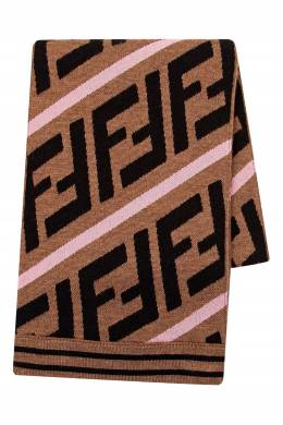 Светло-коричневый шарф с логотипами Fendi Kids 690164132
