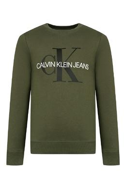 Темно-зеленый свитшот с черно-белой надписью Calvin Klein Kids 2815164064
