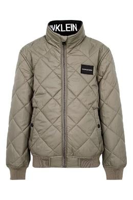 Серебристо-бежевая куртка с резинкой на талии Calvin Klein Kids 2815164014