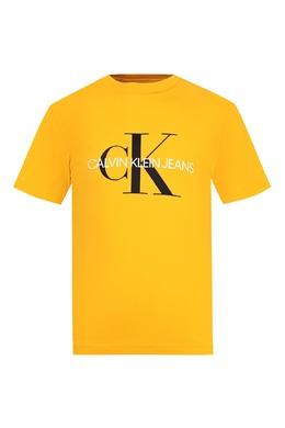 Желтая футболка с цветными надписями Calvin Klein Kids 2815164051