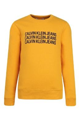 Желтый свитшот с черными надписями Calvin Klein Kids 2815164065