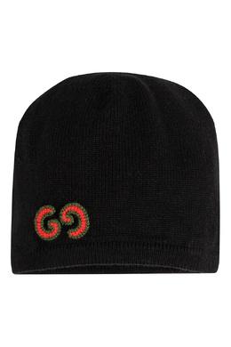 Черная вязаная шапка с логотипом Gucci Kids 1256164208