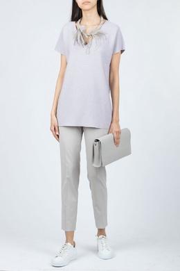 Сиреневая блуза с блестками и короткими рукавами Fabiana Filippi 2658164516