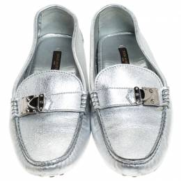 Louis Vuitton Metallic Silver Leather Lombok Loafers Size 37 241334