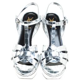 Saint Laurent Paris Metallic Silver Croc Embossed Leather Tribute Ankle Strap Sandals Size 39 242901