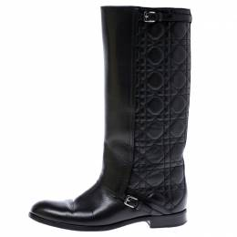 Dior Black Cannage Leather City Knee High Boots Size 38