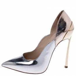 Casadei Metallic Two Tone Leather Leather Pointed Toe Pumps Size 35 242037