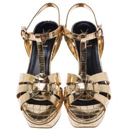 Saint Laurent Paris Metallic Gold Croc Embossed Leather Tribute Ankle Strap Sandals Size 39 243024