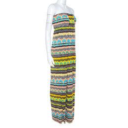 Diane Von Furstenberg Multicolor Printed Silk Strapless Maxi Farrin Dress XL 235240