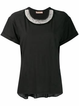 Twin-set футболка с искусственным жемчугом 192TT2562