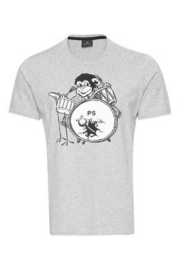 Серая футболка с обезьяной Paul Smith 1924165195