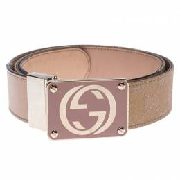 Gucci Beige/Gold Leather and GG Canvas Reversible GG Buckle Belt 85cm 242147