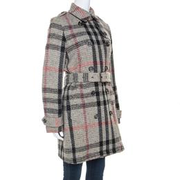 Burberry Brit Beige Plaid Knit Wool Tweed Coat M 241684