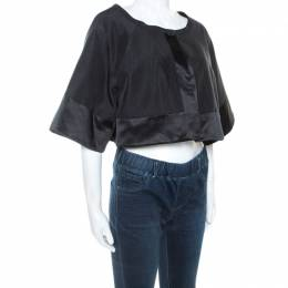Temperley Black Cotton and Satin Trim Palais Bolero L 243097