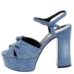 Saint Laurent Blue Denim Fabric Candy Bow Platform Sandals Size 38.5 243328