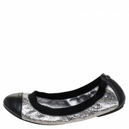Tory Burch Silver/Black Quilted Leather Garter Ballet Flats Size 36 242848