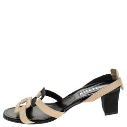 Manolo Blahik Beige/Black Cutout Leather Slingback Sandals Size 37 Manolo Blahnik