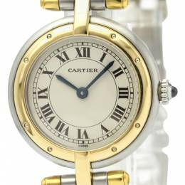 Cartier Silver 18K Yellow Gold And Stainless Steel Panthere Women's Wristwatch 24 MM 242440