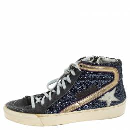 Golden Goose Grey Glitter And Suede High Top Sneakers Size 37 243293