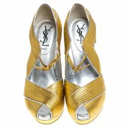 Saint Laurent Paris Metallic Gold Leather Venice Sculpted Wedge Platform Sandals Size 36 243268