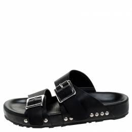 Alexander McQueen Black Leather Double Buckle Strap Flat Sandals Size 44 243609