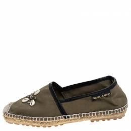 Dsquared2 Khaki Canvas Shell Embellished Espadrille Flats Size 39 243487