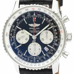 Breitling Black Stainless Steel and Leather Navitimer AB0121 Men's Wristwatch 43MM 242299