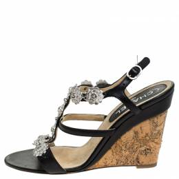 Chanel Black Leather Embellished Wedge Strappy Sandals Size 40.5 241512