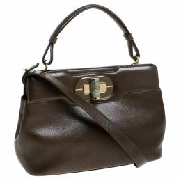 Bvlgari Olive Green Leather Isabella Rossellini Top Handle Bag 239174