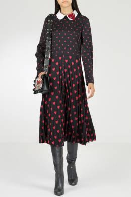 Черное платье-миди с узорами и аппликацией Red Valentino 986165430