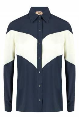Синяя блузка с желтой вставкой No. 21 35165318