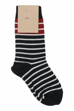 Темно-синие высокие носки в полоску No. 21 35165392