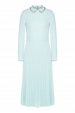 Голубое платье-миди с кристаллами и плиссировкой Red Valentino 986165427