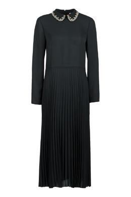Черное платье-миди с кристаллами и плиссировкой Red Valentino 986165428