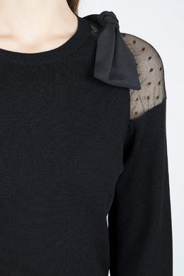 Черное трикотажное платье-мини с отделкой Red Valentino 986165408