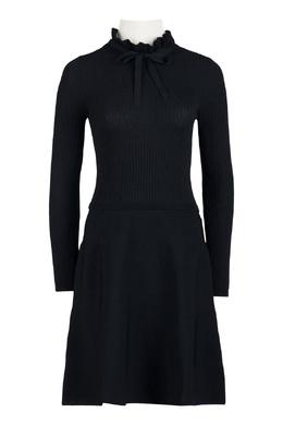 Черное трикотажное платье в рубчик Red Valentino 986165409