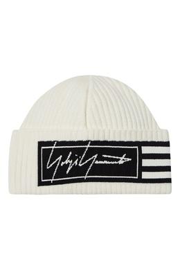 Бежевая шапка-бини с логотипами Y-3 1044163997