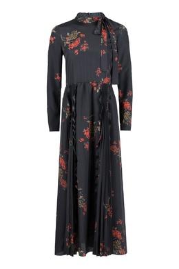 Черное платье-макси с плиссировкой и узорами Red Valentino 986165401