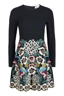 Черное платье-мини с контрастной вышивкой Red Valentino 986165400