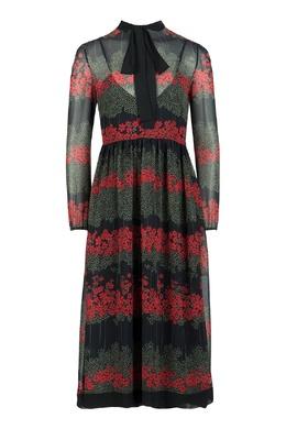 Черное платье-миди с воротником-аскот Red Valentino 986165424