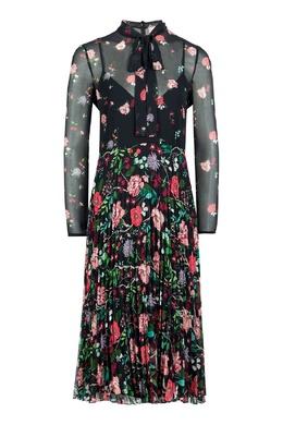 Черное платье-миди с узорами и плиссировкой Red Valentino 986165425