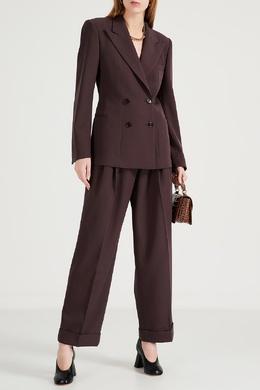 Коричневый двубортный костюм Dries Van Noten 1525163962