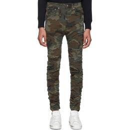 R13 Green Camo Rips Skywalker Jeans 192021M18601405GB