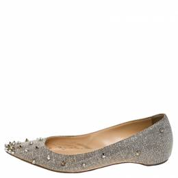 Christian Louboutin Metallic Silver Glitter Fabric Degraspike Pointed Ballet Flats Size 36 243781