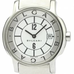 Bvlgari White Stainless Steel and Leather Solotempo ST29S Women's Wristwatch 29MM 242323