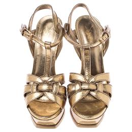 Saint Laurent Paris Metallic Gold Leather Tribute Platform Strap Sandals Size 37 242996