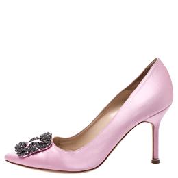 Manolo Blahnik Pink Satin Hangisi Crystal Embellished Pumps Size 36.5