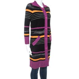 M Missoni Multicolor Striped Boucle Knit Cardigan S 243212