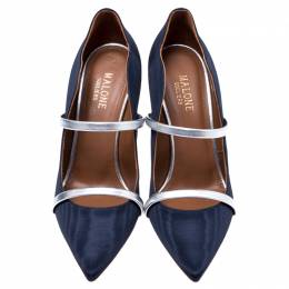 Malone Souliers Navy Blue Moire Fabric Maureen Pointed Toe Mules Size 37.5 243682