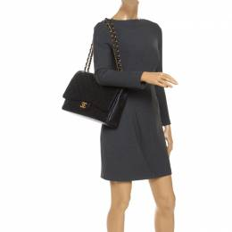 Chanel Black Quilted Leather Maxi Classic Double Flap Bag 239255